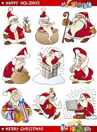 pere noel: Illustration de dessin animé de Pères Noël et Noël Thèmes ensemble Illustration