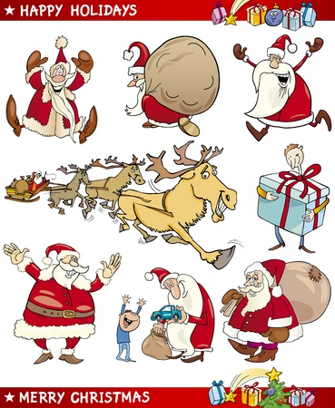 Cartoon Illustration of Santa Clauses and Christmas Themes set Vector