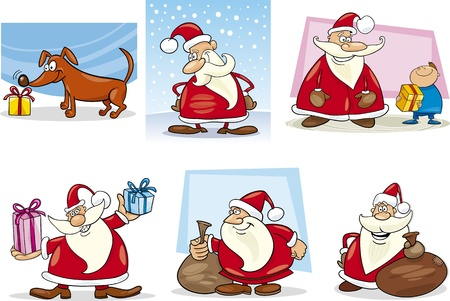 Cartoon Illustration of Santa Clauses and Christmas Themes Clip Art Set Vector
