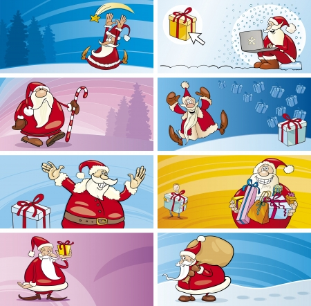 father christmas: Cartoon Illustration of Greeting Cards with Santa Clauses and Christmas Themes set