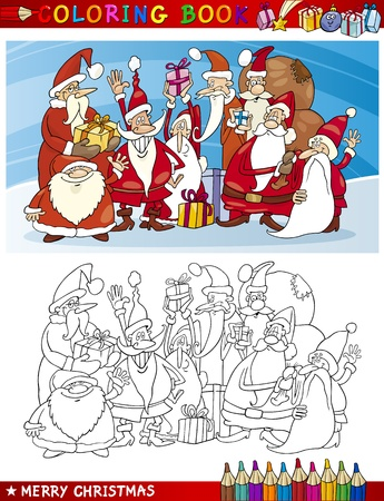 clauses: Coloring Book or Page Cartoon Illustration of Santa Clauses Christmas Themes for Children