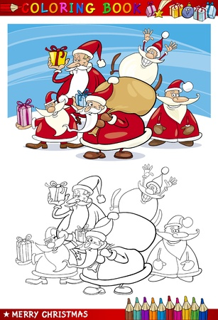 Coloring Book or Page Cartoon Illustration of Santa Clauses Christmas Themes for Children Vector