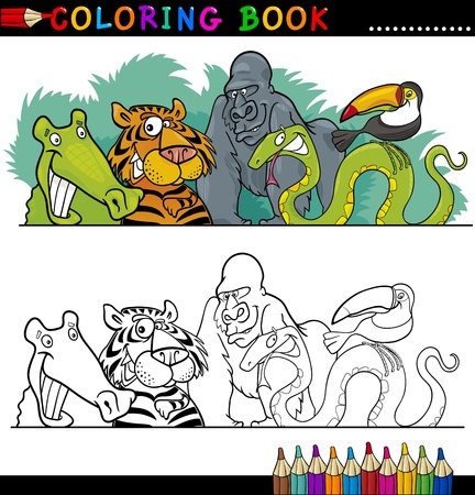 tiger page: Coloring Book or Page Cartoon Illustration of Funny Wild Animals for Children Education