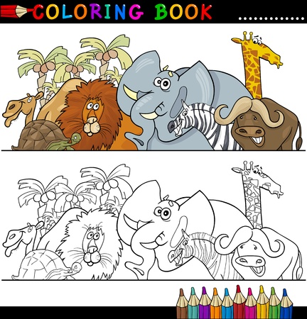coloring book pages: Coloring Book or Page Cartoon Illustration of Funny Wild and Safari Animals for Children Education