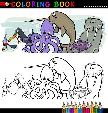 Cartoon Ilustración Del Diseño De Vida Marina Cabecera Animales ...