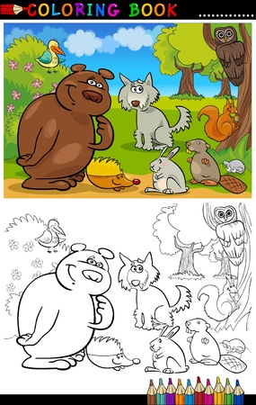 coloring book page: Coloring Book or Page Cartoon Illustration of Funny Wild Animals for Children Education
