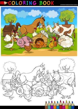 Coloring Book Illustration de bande dessinée ou de la page de Funny Farm et des animaux d'élevage pour l'éducation des enfants