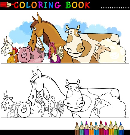 black and white farm animals: Coloring Book or Page Cartoon Illustration of Funny Farm and Livestock Animals for Children Education