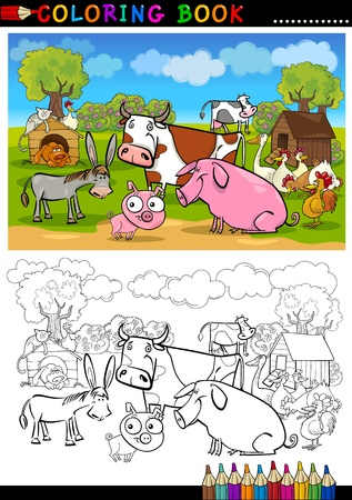 coloring book pages: Coloring Book or Page Cartoon Illustration of Funny Farm and Livestock Animals for Children Education