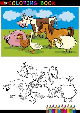 Coloring Book or Page Cartoon Illustration of Funny Farm and Livestock Animals for Children Education Vector