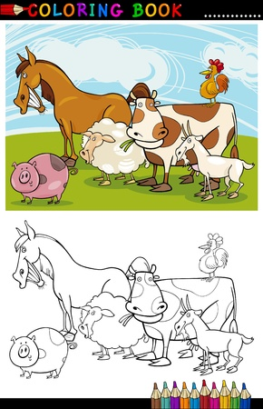 Coloring Book or Page Cartoon Illustration of Funny Farm and Livestock Animals for Children Education Stock Vector - 15076961