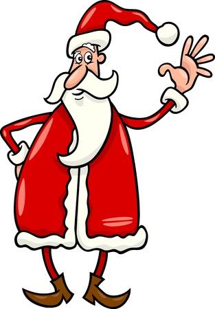 Cartoon Illustration of Cheerful Christmas Santa Claus Illustration
