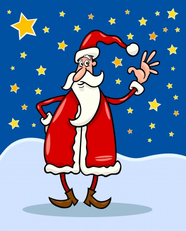 star man: Cartoon Illustration of Christmas Santa Claus against Evening Sky full of Stars