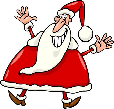 Cartoon Illustration of Happy Christmas Santa Claus  Vector