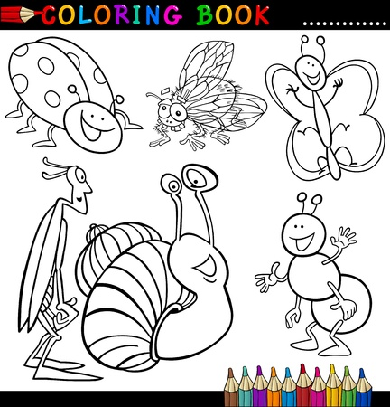 coloring book page: Coloring Book or Page Cartoon Illustration of Funny Insects and Bugs for Children