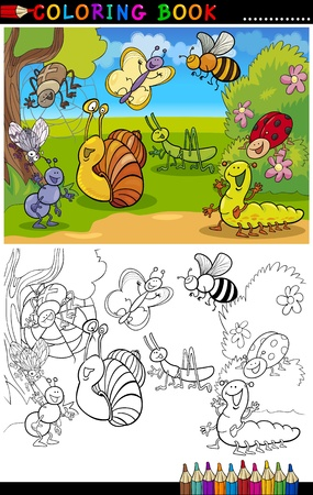 coloring book pages: Coloring Book or Page Cartoon Illustration of Funny Insects and Bugs for Children