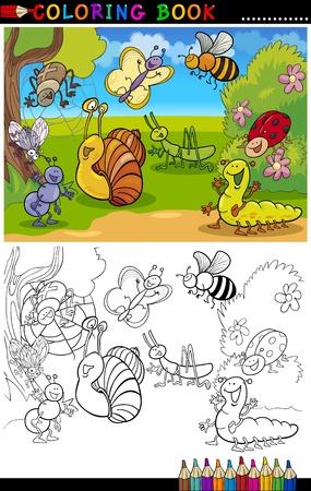 dibujos para colorear: Libro para colorear o ilustración de dibujos animados Página de Insectos y bugs divertidos para los niños