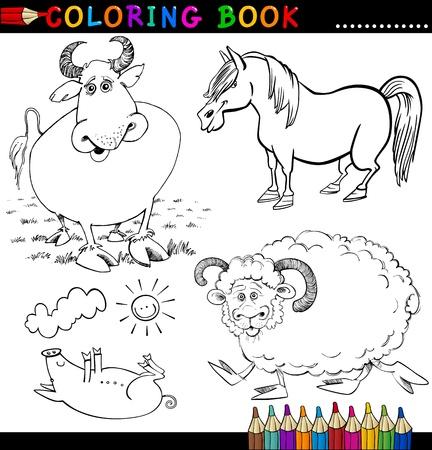 Cartoon Illustrationen Von Funny Farm Animals Charaktere Gruppe Für ...