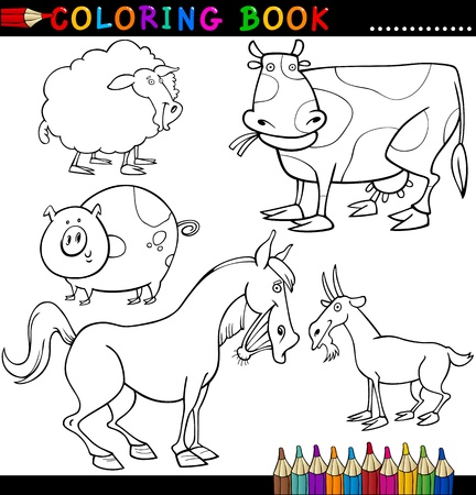 livestock: Coloring Book or Page Cartoon Illustration of Funny Farm and Livestock Animals for Children Illustration