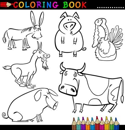 Malbuch Oder Page Cartoon Illustration Der Funny Farm And Livestock ...