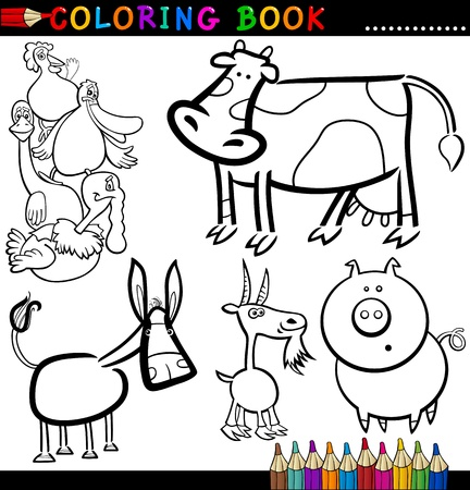 funny donkey: Coloring Book or Page Cartoon Illustration of Funny Farm and Livestock Animals for Children Illustration