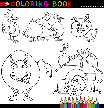 funny farm: Coloring Book or Page Cartoon Illustration of Funny Farm and Livestock Animals for Children Illustration