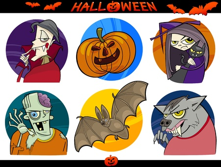 Cartoon Illustration of Halloween Themes, Vampire, Zombie, Witch, Werewolf, Pumpkin and Bat Funny Set Vector
