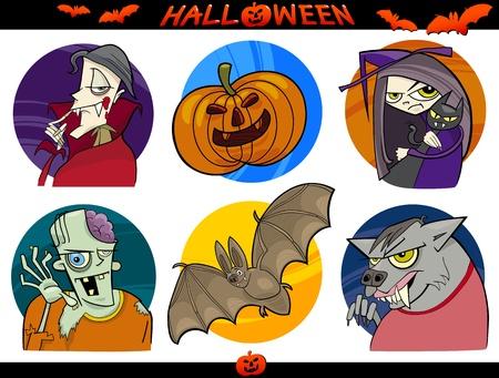 sneer: Cartoon Illustration of Halloween Themes, Vampire, Zombie, Witch, Werewolf, Pumpkin and Bat Funny Set Illustration