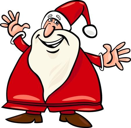 Cartoon Illustration of Happy Christmas Santa Claus or Papa Noel Illustration