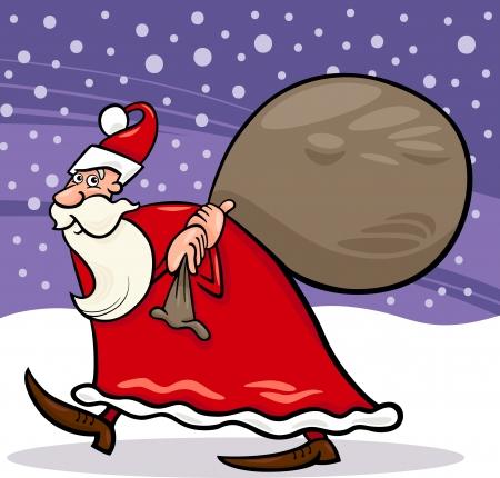 papa noel navidad: Ilustraci�n de dibujos animados de Navidad Santa Claus o Pap� Noel con los presentes en el saco de la tarde contra el cielo y la nieve