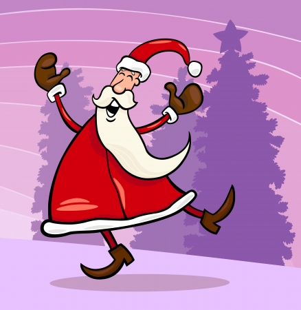 papa noel: Cartoon Illustration of Funny Santa Claus or Papa Noel against Sky and Christmas Tree with Star Illustration