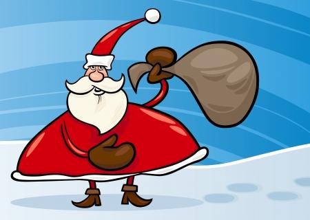 papa noel navidad: Ilustraci�n de dibujos animados de Navidad Santa Claus o Pap� Noel con los regalos en el saco sobre el Snow Vectores