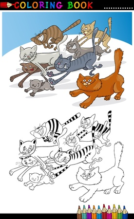 Coloring Book or Page Cartoon Illustration of Funny Running Cats for Children Vector