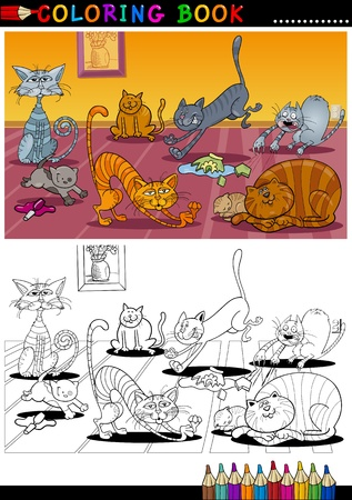coloring book pages: Coloring Book or Page Cartoon Illustration of Funny Naughty Cats in the House for Children
