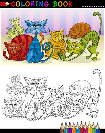 Coloring Book or Page Cartoon Illustration of Fantasy Cats for Children Vector
