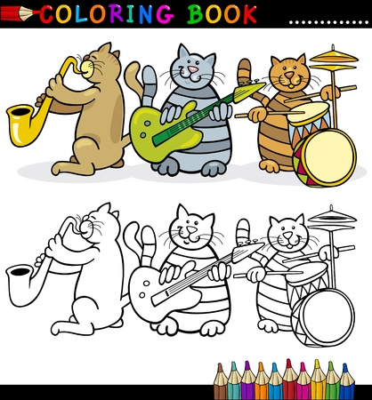 Coloring Book or Page Cartoon Illustration of Funny Cats Music Band for Children Vector