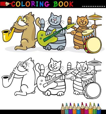 dibujos para colorear: Libro para colorear o ilustración de dibujos animados Página de Banda divertida de la música Gatos para niños Vectores