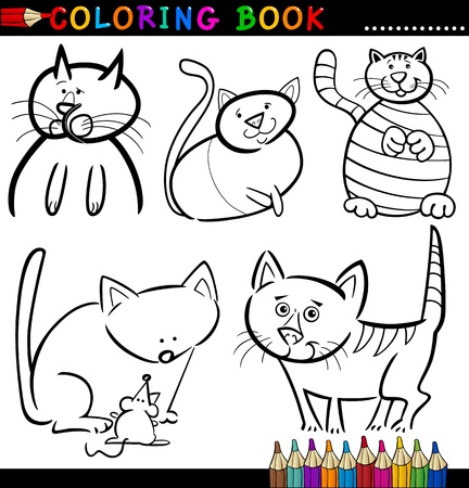 Coloring Book or Page Cartoon Illustration of Funny Cats for Children Stock Vector - 15327414