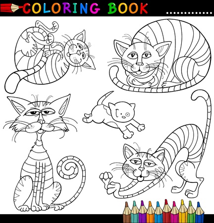 mouser: Coloring Book or Page Cartoon Illustration of Funny Cats for Children