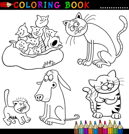 Coloring Book or Page Cartoon Illustration of Funny Cats for Children Vector