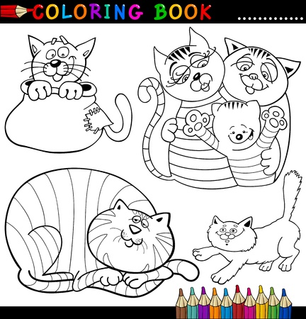 Coloring Book or Page Cartoon Illustration of Funny Cats for Children Stock Vector - 15327412