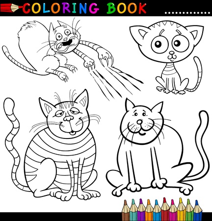coloring book pages: Coloring Book or Page Cartoon Illustration of Funny Cats for Children