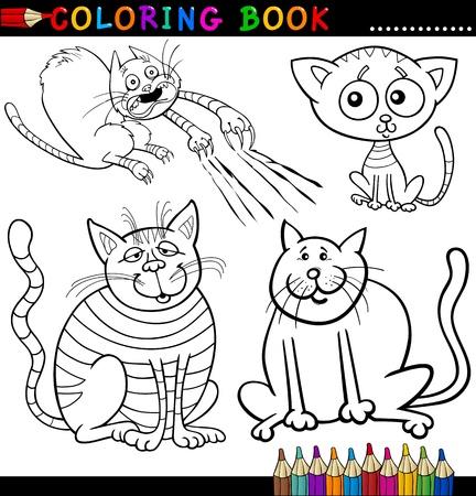 dibujos para colorear: Libro para colorear o ilustraci�n de la historieta de la p�gina Funny Cats for Children Vectores