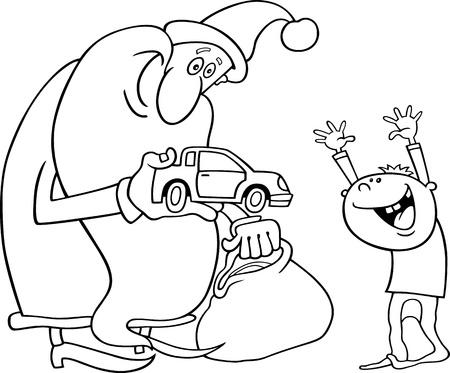 Cartoon Illustration of Santa Claus Giving Christmas Present to Little Boy for Coloring Book or Page Vector
