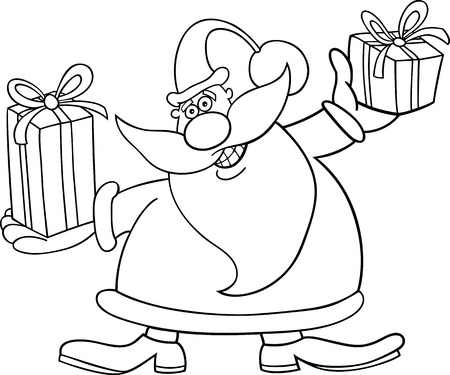 papa noel: Cartoon Illustration of Santa Claus or Father Christmas or Papa Noel with Presents for Coloring Book or Page Illustration