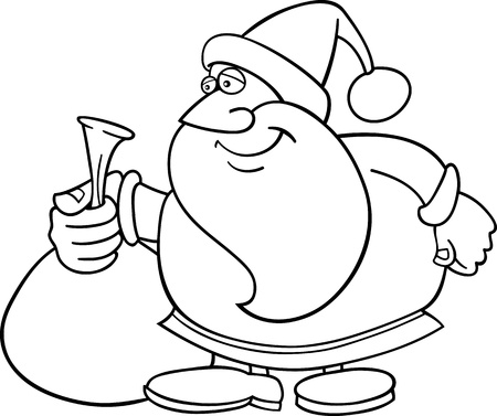 Cartoon Illustration of Santa Claus or Father Christmas or Papa Noel with Sack of Presents for Coloring Book or Page Stock Vector - 15384763