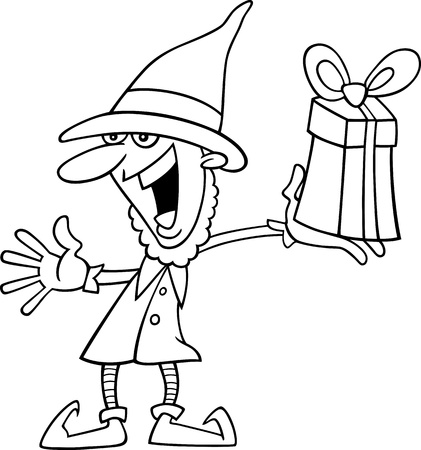 Cartoon Illustration of Christmas Elf with Gift for Coloring Book or Page Vector