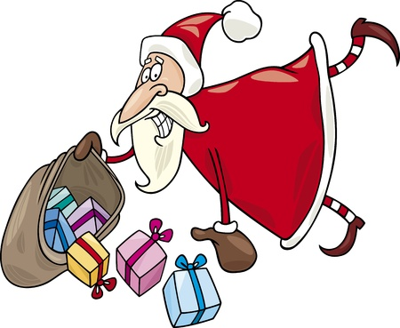 Cartoon Illustration of Flying Santa Claus with Sack of Christas Presents Vector