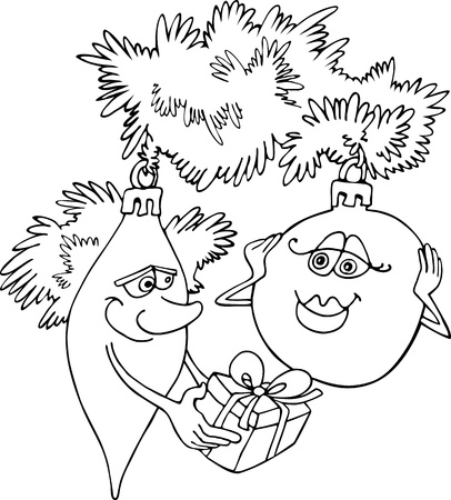Cartoon Illustration of Baubles on Christmas Tree for Coloring Book or Page Vector