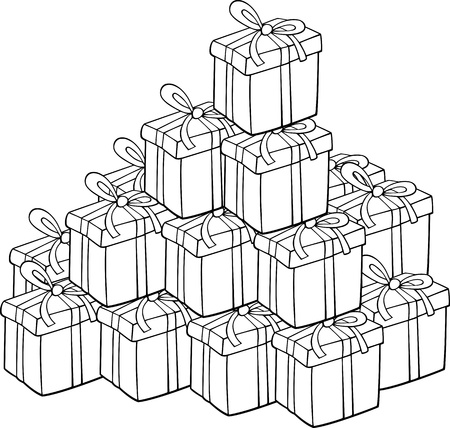colorless: Cartoon Illustration of Heap of Christmas Presents for Coloring Book or Page
